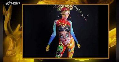 """Naomi Miglietta.La brindisina super modella ha affiancato l'artista   Francesca Pellegrino arrivata 13^ sul podio del """" World Bodypainting Festival"""" edizione COV 2021"""